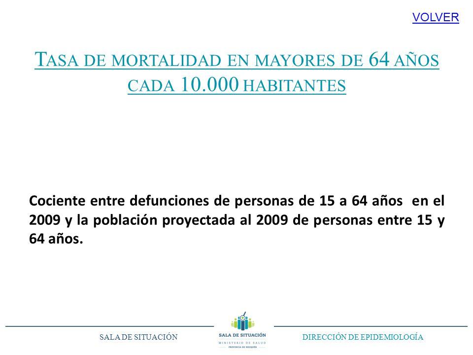 T ASA DE MORTALIDAD EN MAYORES DE 64 AÑOS CADA 10.000 HABITANTES Cociente entre defunciones de personas de 15 a 64 años en el 2009 y la población proyectada al 2009 de personas entre 15 y 64 años.