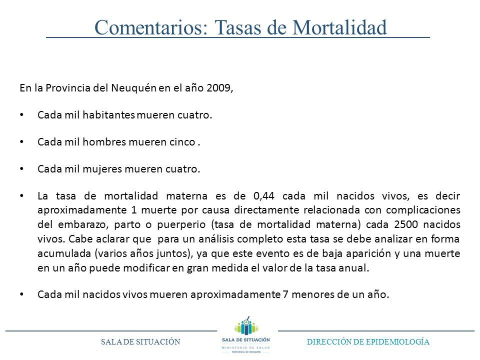 Comentarios: Tasas de Mortalidad En la Provincia del Neuquén en el año 2009, Cada mil habitantes mueren cuatro.