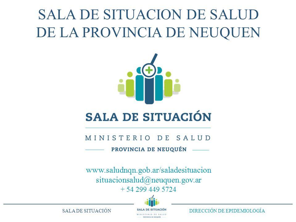 SALA DE SITUACION DE SALUD DE LA PROVINCIA DE NEUQUEN www.saludnqn.gob.ar/saladesituacion situacionsalud@neuquen.gov.ar + 54 299 449 5724