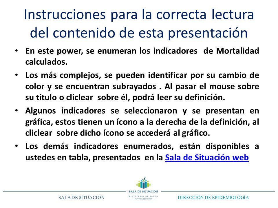 Instrucciones para la correcta lectura del contenido de esta presentación En este power, se enumeran los indicadores de Mortalidad calculados.