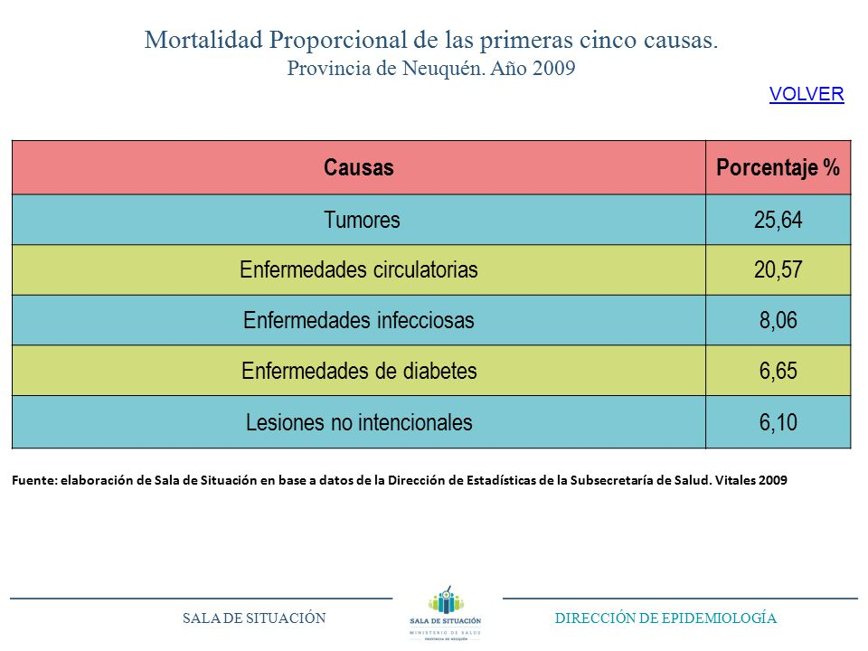Mortalidad Proporcional de las primeras cinco causas.