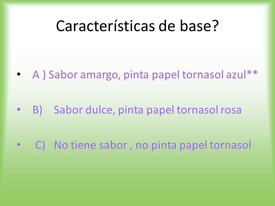 Características de base.
