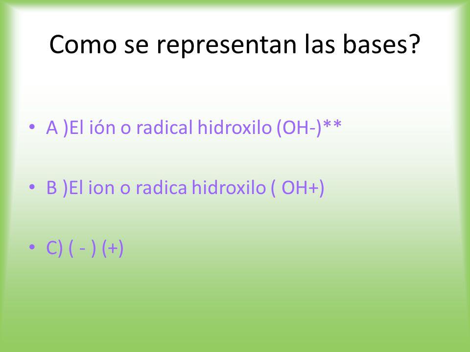 Como se representan las bases.