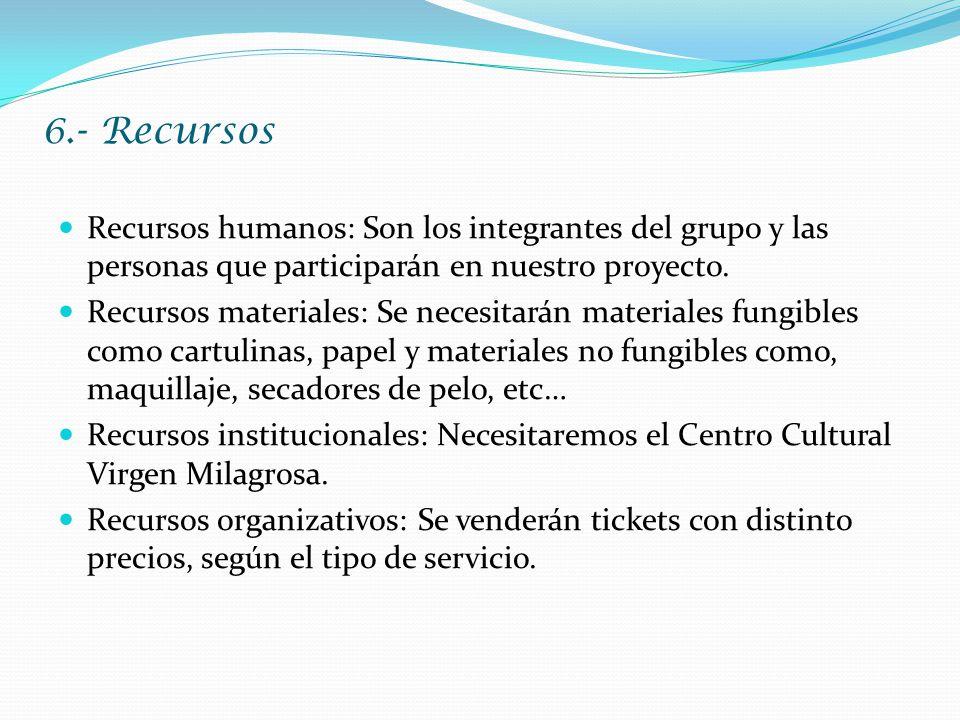 6.- Recursos Recursos humanos: Son los integrantes del grupo y las personas que participarán en nuestro proyecto.