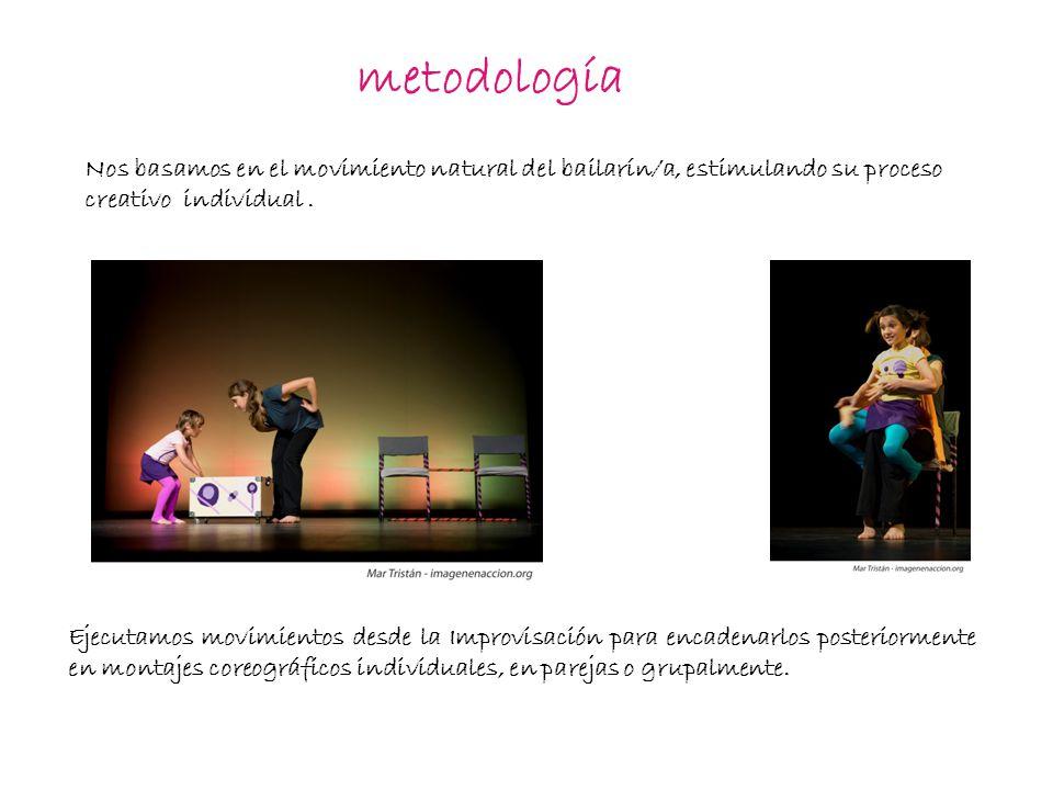 metodología Ejecutamos movimientos desde la Improvisación para encadenarlos posteriormente en montajes coreográficos individuales, en parejas o grupalmente.