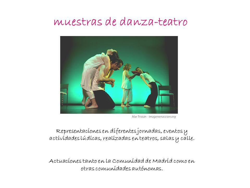 muestras de danza-teatro Representaciones en diferentes jornadas, eventos y actividades lúdicas, realizadas en teatros, salas y calle.