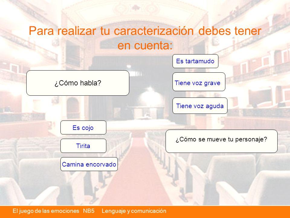 El juego de las emociones NB5 Lenguaje y comunicación Para realizar tu caracterización debes tener en cuenta: ¿Cómo habla.