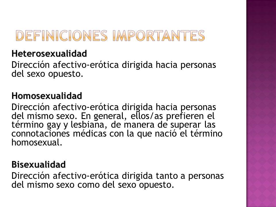 Heterosexualidad Dirección afectivo-erótica dirigida hacia personas del sexo opuesto.Homosexualidad Dirección afectivo-erótica dirigida hacia personas del mismo sexo.