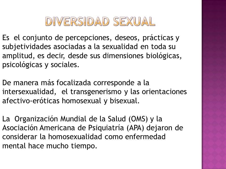 Es el conjunto de percepciones, deseos, prácticas y subjetividades asociadas a la sexualidad en toda su amplitud, es decir, desde sus dimensiones biológicas, psicológicas y sociales.
