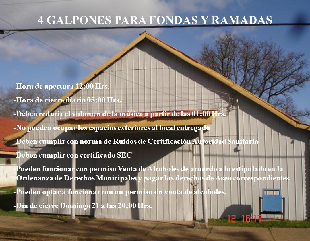 4 GALPONES PARA FONDAS Y RAMADAS -Hora de apertura 12:00 Hrs.