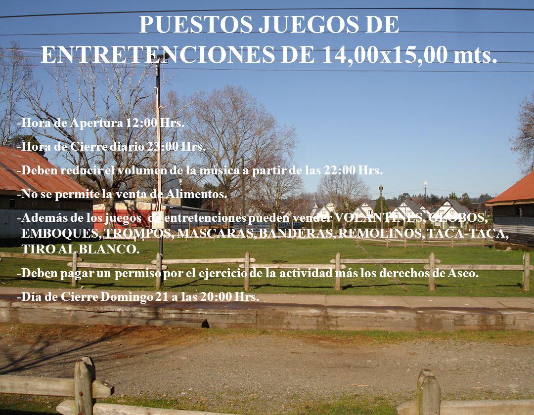 PUESTOS JUEGOS DE ENTRETENCIONES DE 14,00x15,00 mts.