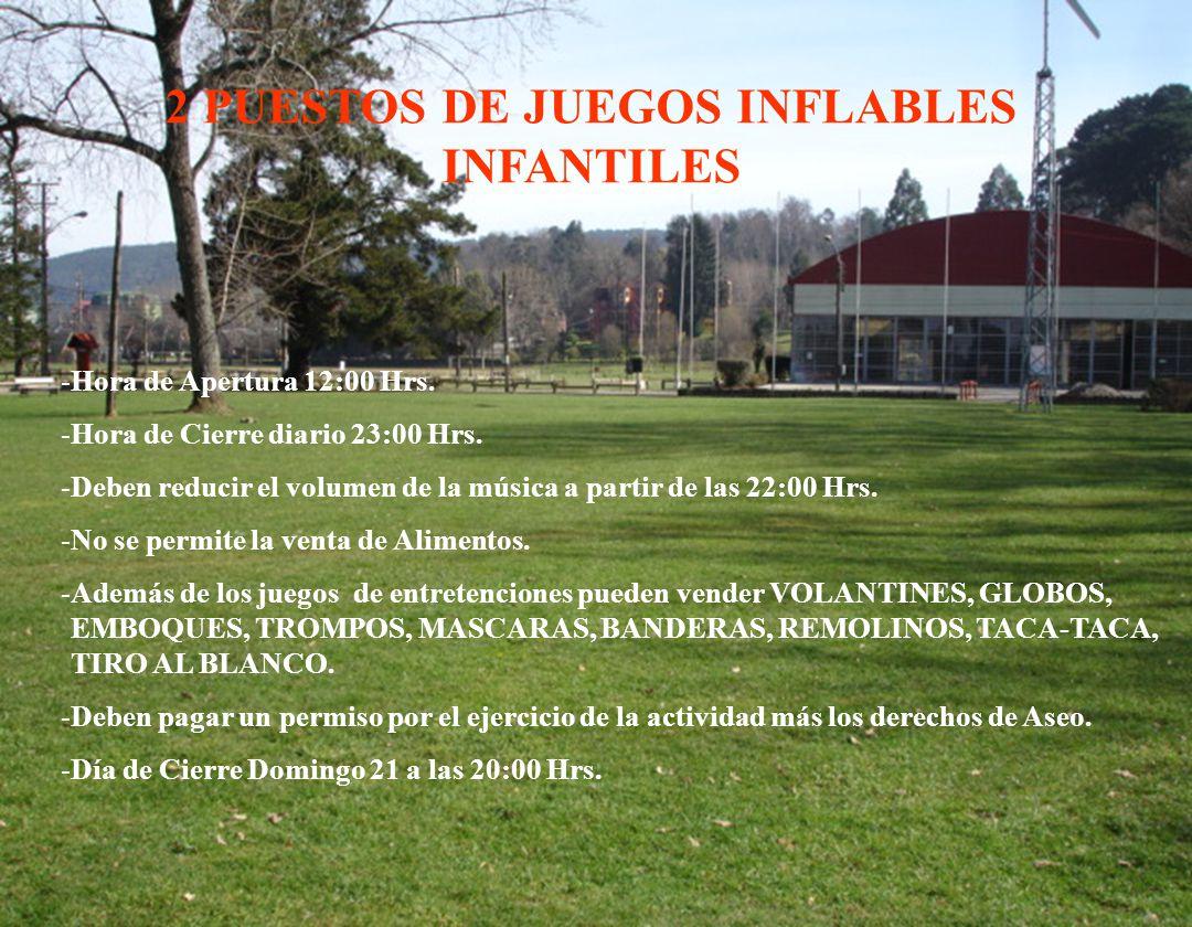 2 PUESTOS DE JUEGOS INFLABLES INFANTILES -Hora de Apertura 12:00 Hrs.