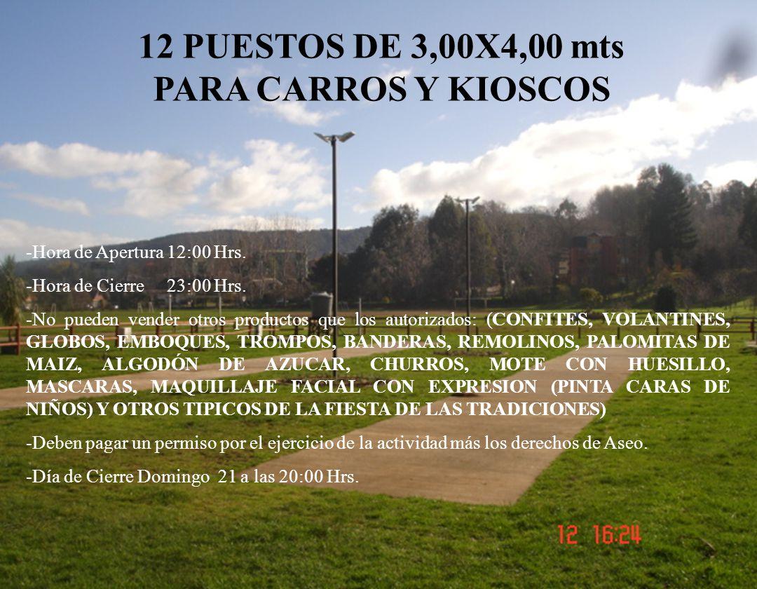 12 PUESTOS DE 3,00X4,00 mts PARA CARROS Y KIOSCOS -Hora de Apertura 12:00 Hrs.