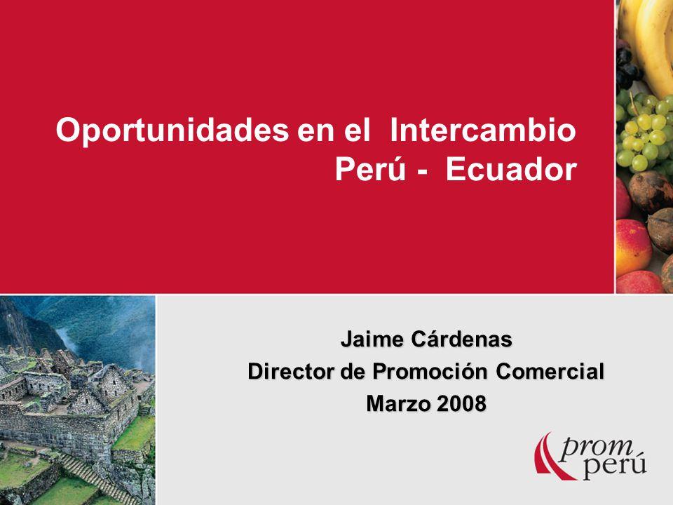 Oportunidades en el Intercambio Perú - Ecuador Jaime Cárdenas Director de Promoción Comercial Marzo 2008
