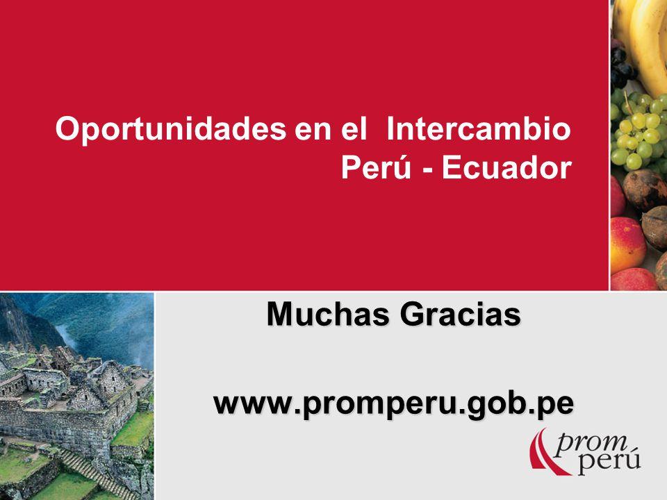 Oportunidades en el Intercambio Perú - Ecuador Muchas Gracias www.promperu.gob.pe