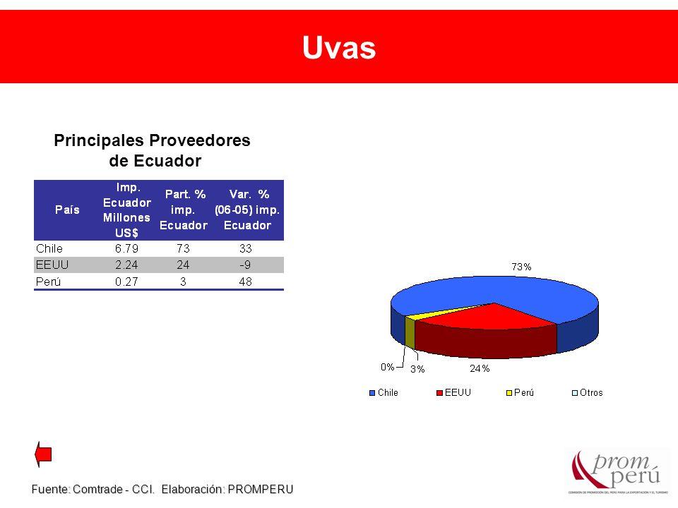 Uvas Fuente: Comtrade - CCI. Elaboración: PROMPERU Principales Proveedores de Ecuador