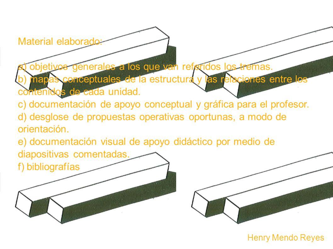 Material elaborado: a) objetivos generales a los que van referidos los tremas.