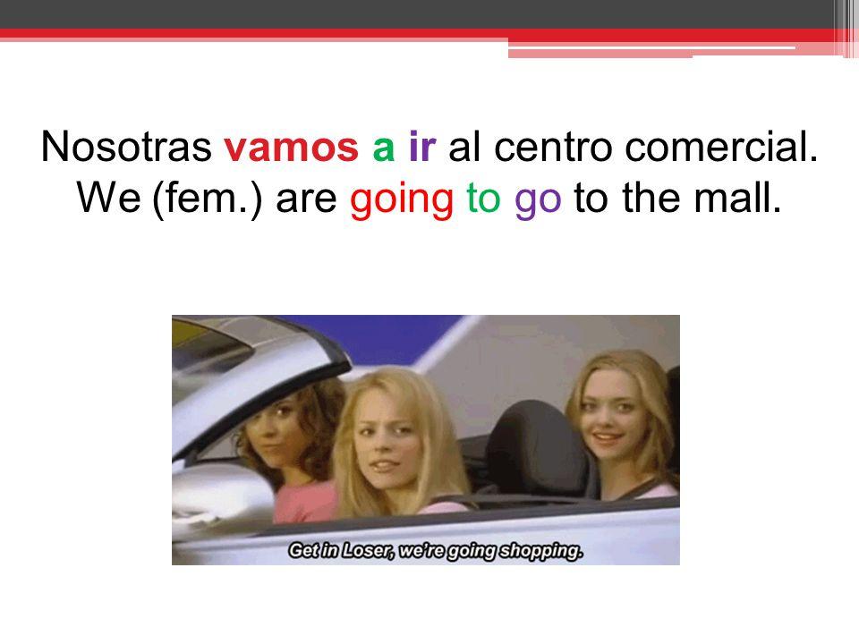 Nosotras vamos a ir al centro comercial. We (fem.) are going to go to the mall.