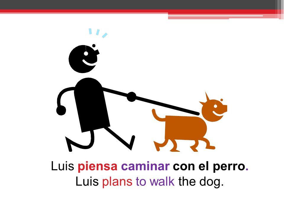 Luis piensa caminar con el perro. Luis plans to walk the dog.