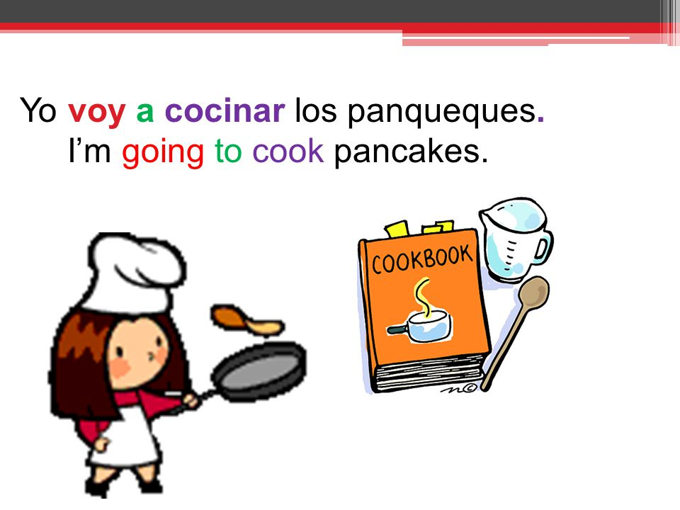 Yo voy a cocinar los panqueques. I'm going to cook pancakes.