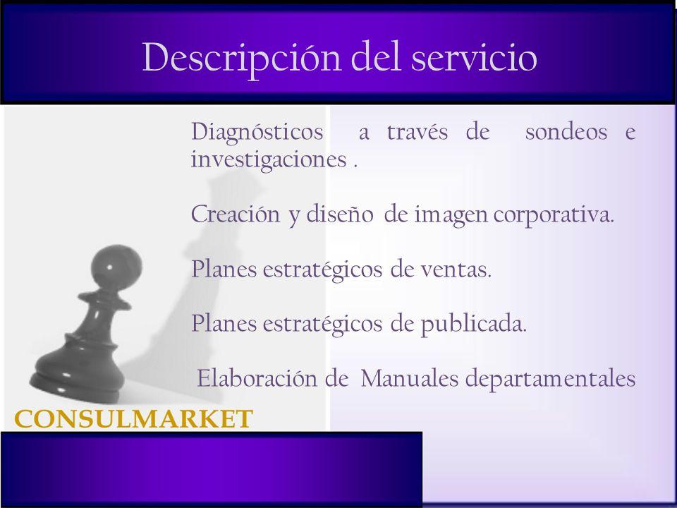 Descripción del servicio Diagnósticos a través de sondeos e investigaciones.