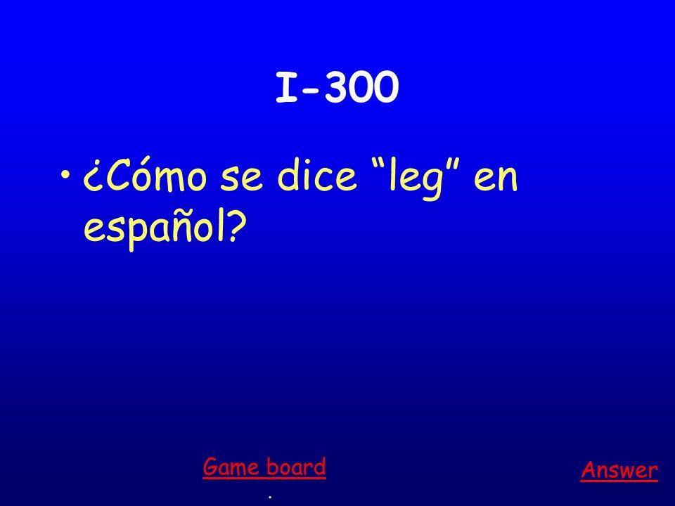 I-200 ¿Cómo se dice mouth en español Answer. Game board