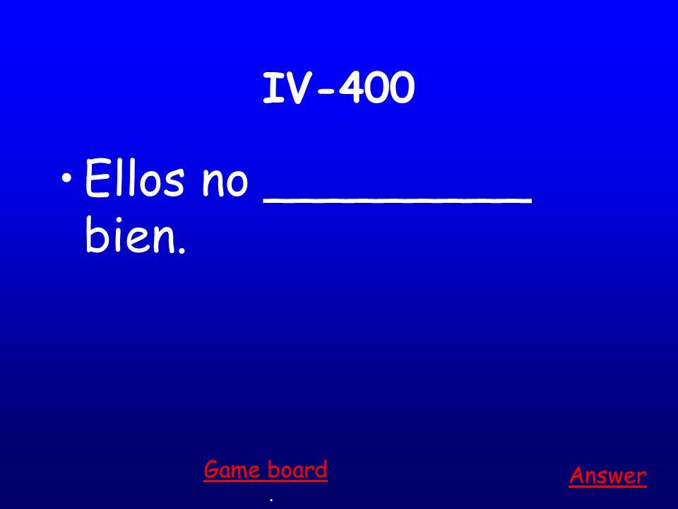 IV-300 Elena no tiene una chaqueta (jacket), ¡ella _______ frío! Answer. Game board