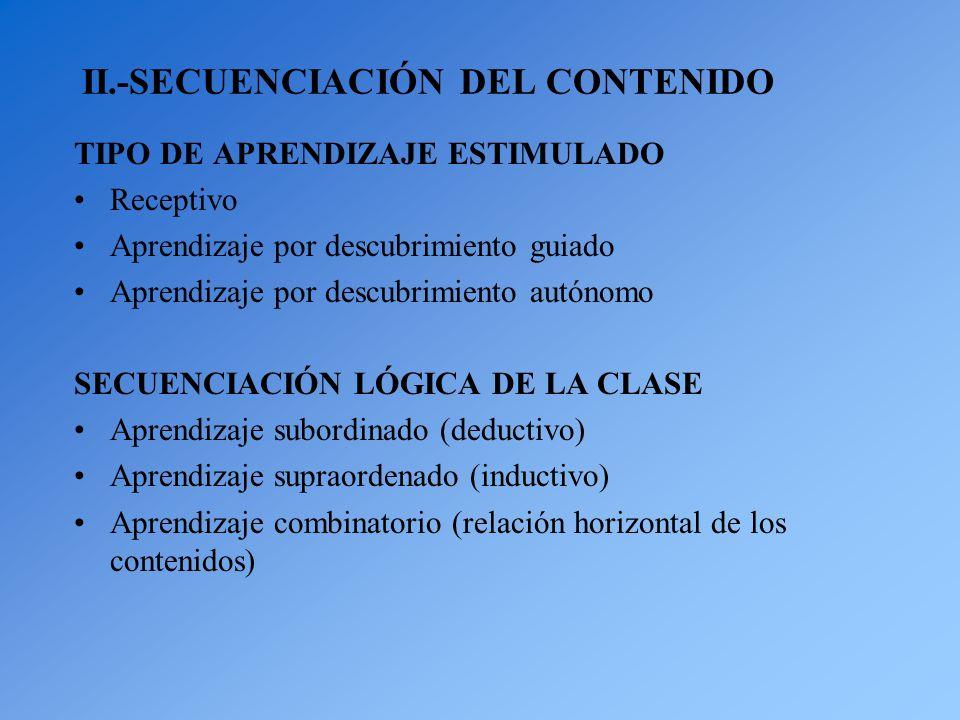 II.-SECUENCIACIÓN DEL CONTENIDO TIPO DE APRENDIZAJE ESTIMULADO Receptivo Aprendizaje por descubrimiento guiado Aprendizaje por descubrimiento autónomo SECUENCIACIÓN LÓGICA DE LA CLASE Aprendizaje subordinado (deductivo) Aprendizaje supraordenado (inductivo) Aprendizaje combinatorio (relación horizontal de los contenidos)