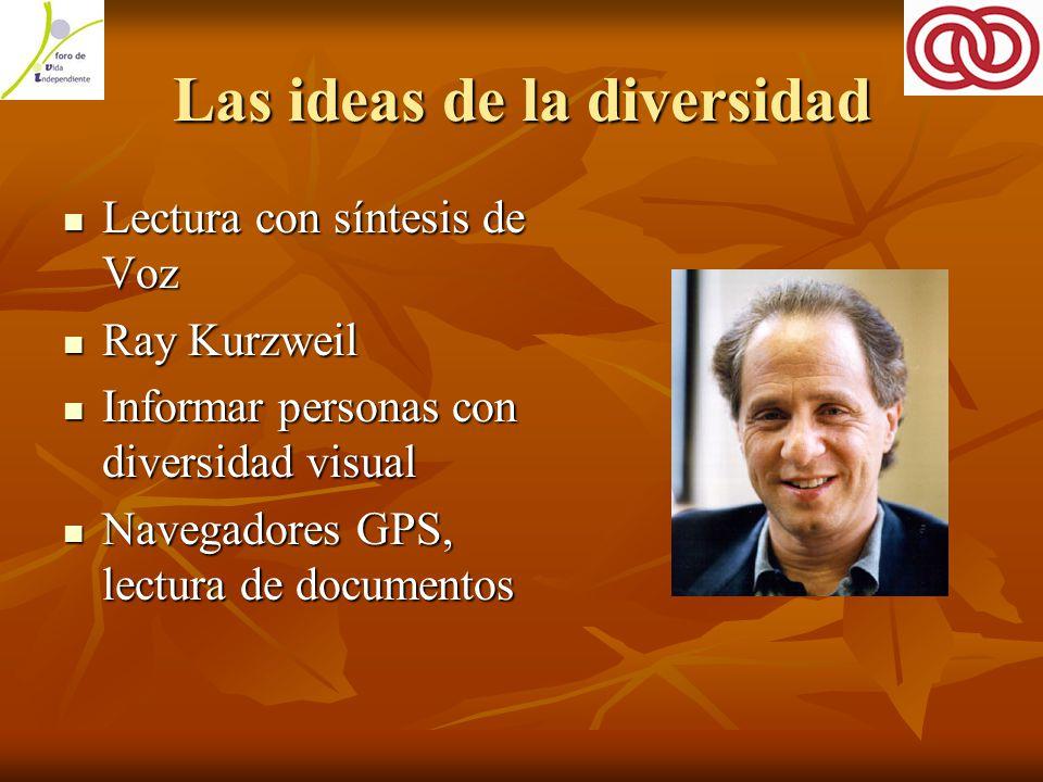 Las ideas de la diversidad Lectura con síntesis de Voz Lectura con síntesis de Voz Ray Kurzweil Ray Kurzweil Informar personas con diversidad visual Informar personas con diversidad visual Navegadores GPS, lectura de documentos Navegadores GPS, lectura de documentos