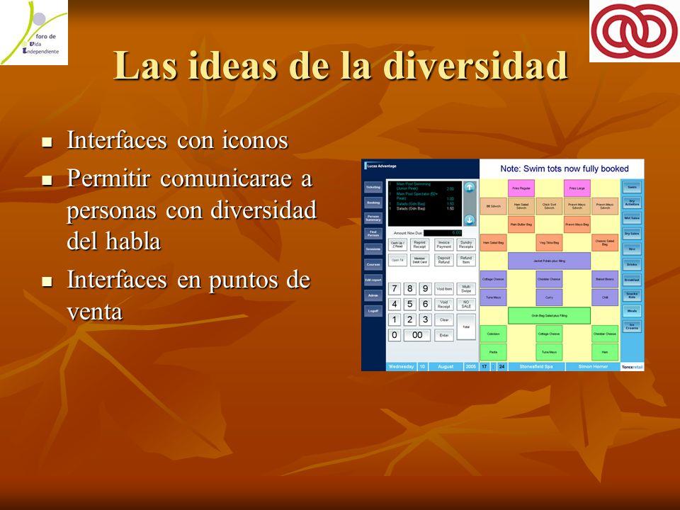 Las ideas de la diversidad Interfaces con iconos Interfaces con iconos Permitir comunicarae a personas con diversidad del habla Permitir comunicarae a personas con diversidad del habla Interfaces en puntos de venta Interfaces en puntos de venta