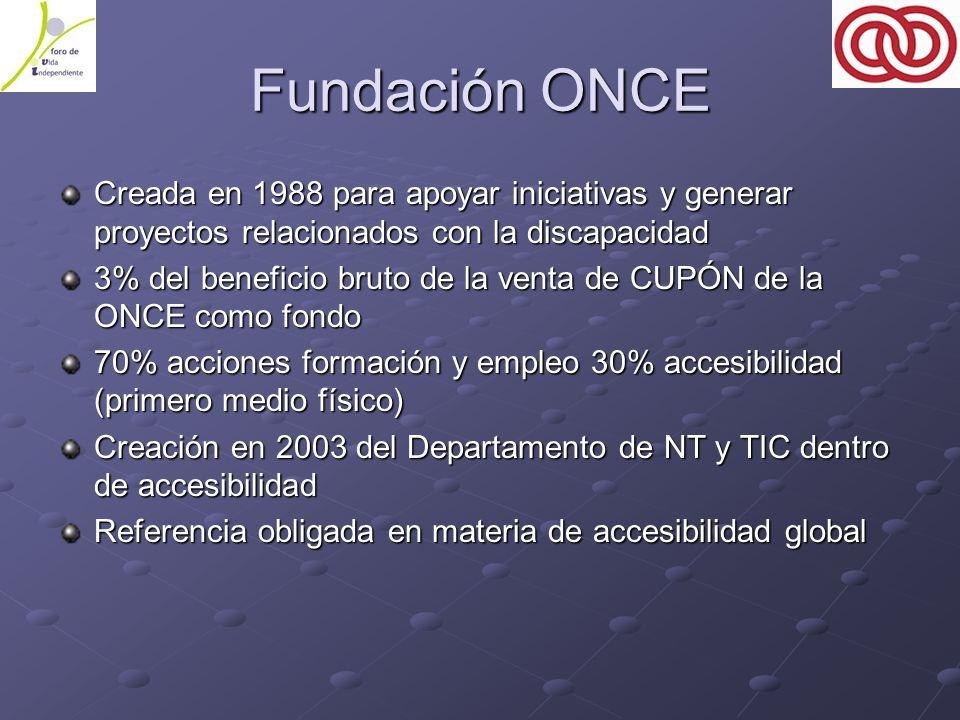 Fundación ONCE Creada en 1988 para apoyar iniciativas y generar proyectos relacionados con la discapacidad 3% del beneficio bruto de la venta de CUPÓN de la ONCE como fondo 70% acciones formación y empleo 30% accesibilidad (primero medio físico) Creación en 2003 del Departamento de NT y TIC dentro de accesibilidad Referencia obligada en materia de accesibilidad global