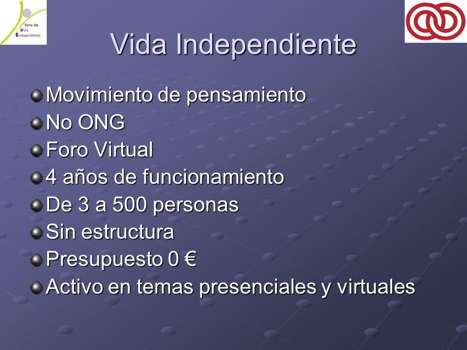 Vida Independiente Movimiento de pensamiento No ONG Foro Virtual 4 años de funcionamiento De 3 a 500 personas Sin estructura Presupuesto 0 € Activo en temas presenciales y virtuales