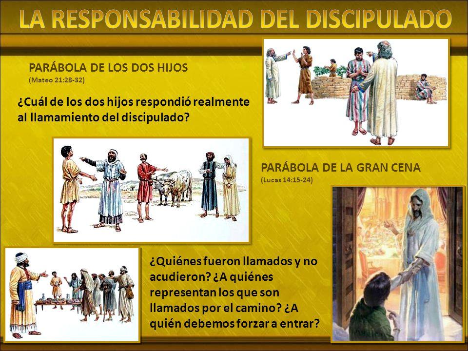 PARÁBOLA DE LOS DOS HIJOS (Mateo 21:28-32) ¿Cuál de los dos hijos respondió realmente al llamamiento del discipulado.