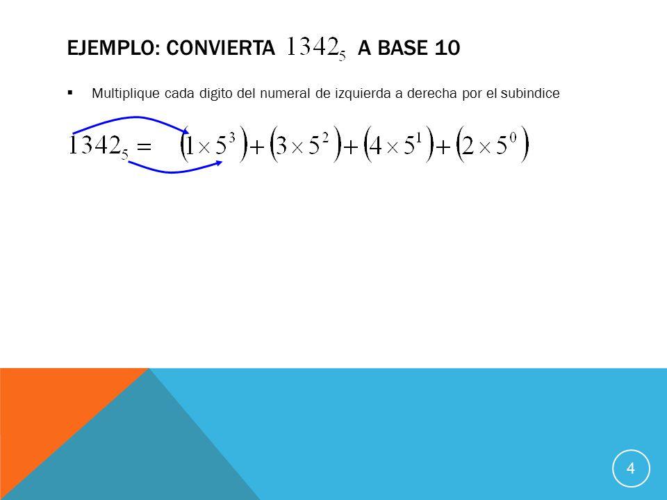 Multiplique cada digito del numeral de izquierda a derecha por el subindice EJEMPLO: CONVIERTA A BASE 10 4
