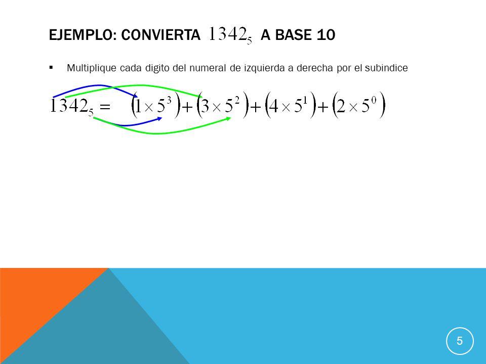  Multiplique cada digito del numeral de izquierda a derecha por el subindice EJEMPLO: CONVIERTA A BASE 10 5