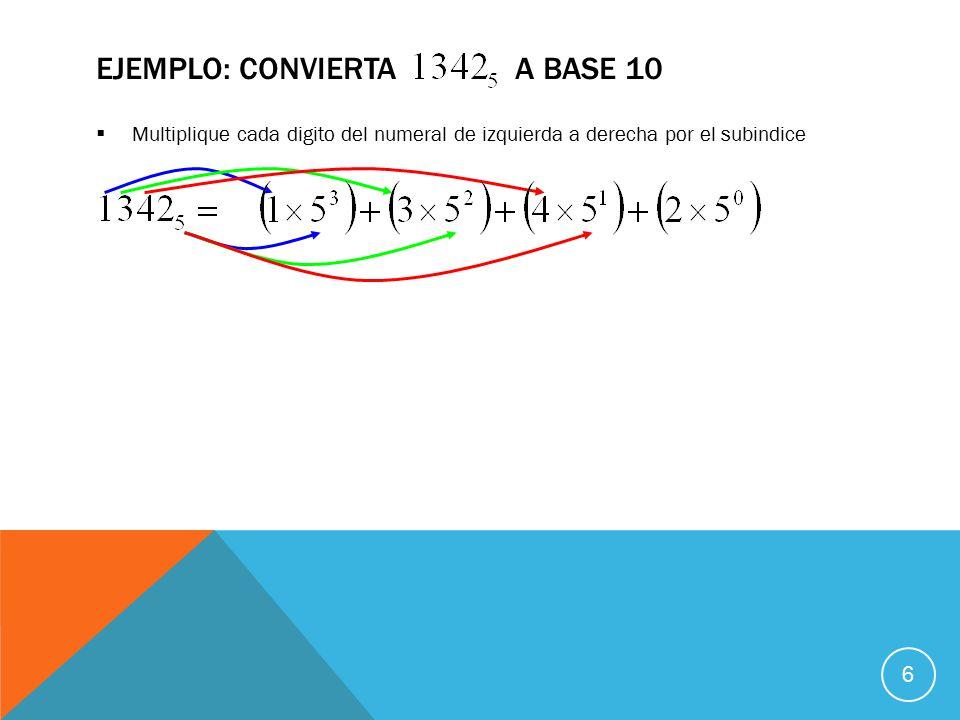  Multiplique cada digito del numeral de izquierda a derecha por el subindice EJEMPLO: CONVIERTA A BASE 10 6
