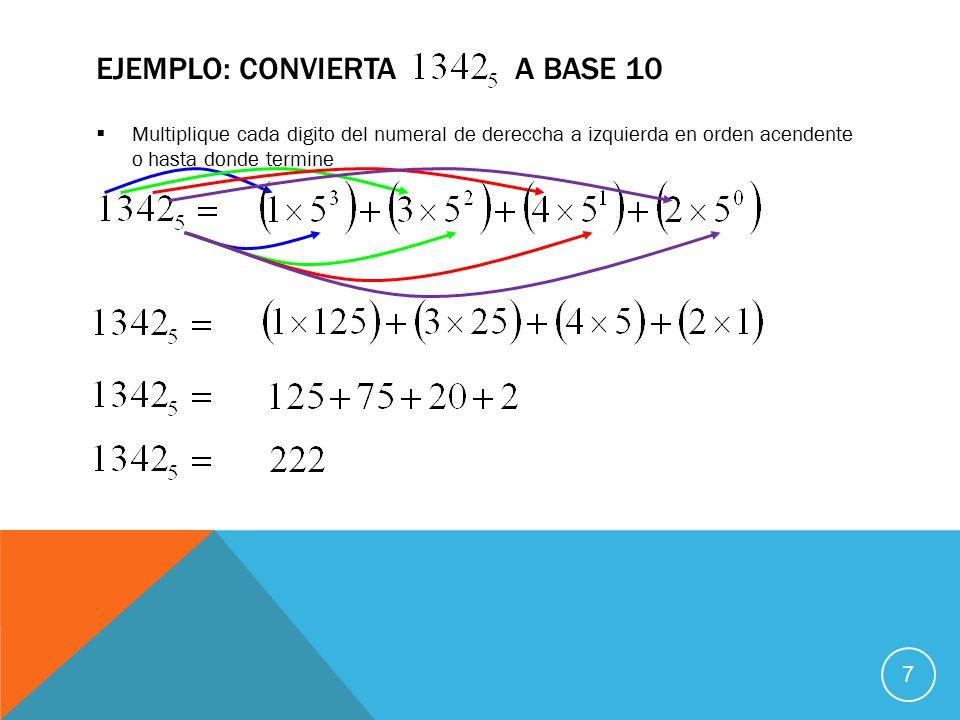  Multiplique cada digito del numeral de dereccha a izquierda en orden acendente o hasta donde termine EJEMPLO: CONVIERTA A BASE 10 7