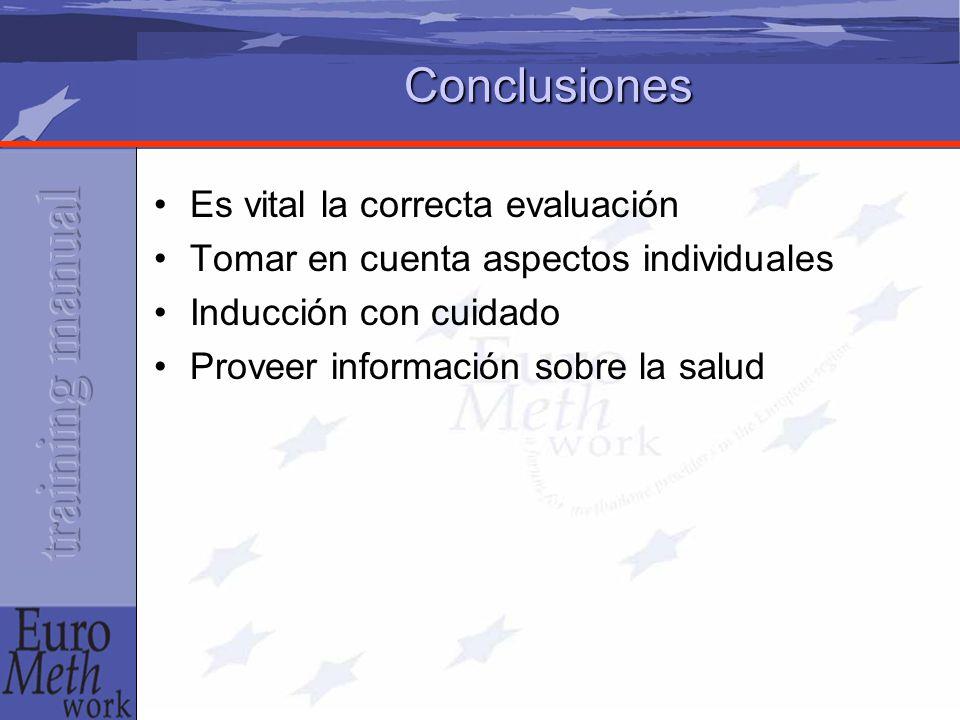 Conclusiones Es vital la correcta evaluación Tomar en cuenta aspectos individuales Inducción con cuidado Proveer información sobre la salud