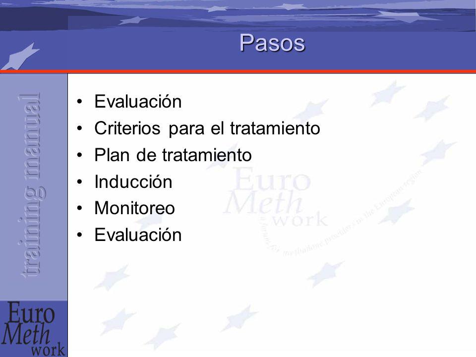 Pasos Evaluación Criterios para el tratamiento Plan de tratamiento Inducción Monitoreo Evaluación