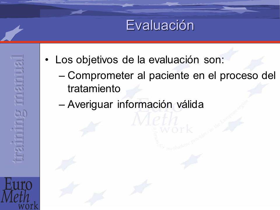Evaluación Los objetivos de la evaluación son: –Comprometer al paciente en el proceso del tratamiento –Averiguar información válida