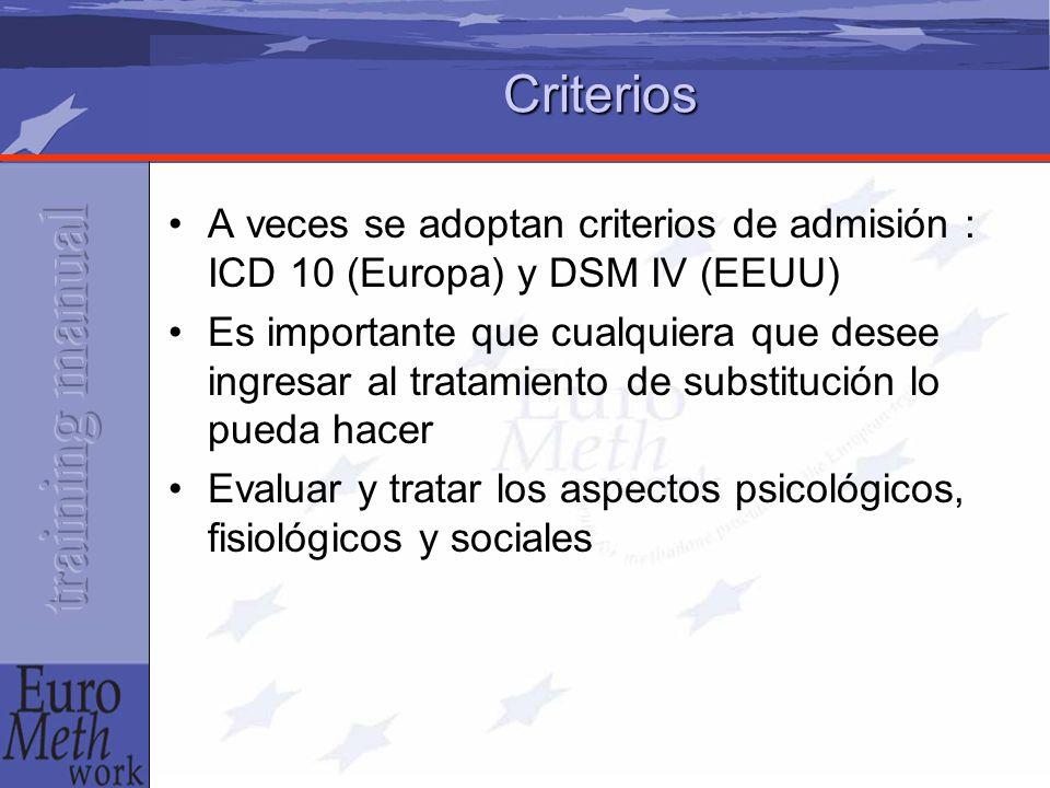 Criterios A veces se adoptan criterios de admisión : ICD 10 (Europa) y DSM IV (EEUU) Es importante que cualquiera que desee ingresar al tratamiento de substitución lo pueda hacer Evaluar y tratar los aspectos psicológicos, fisiológicos y sociales
