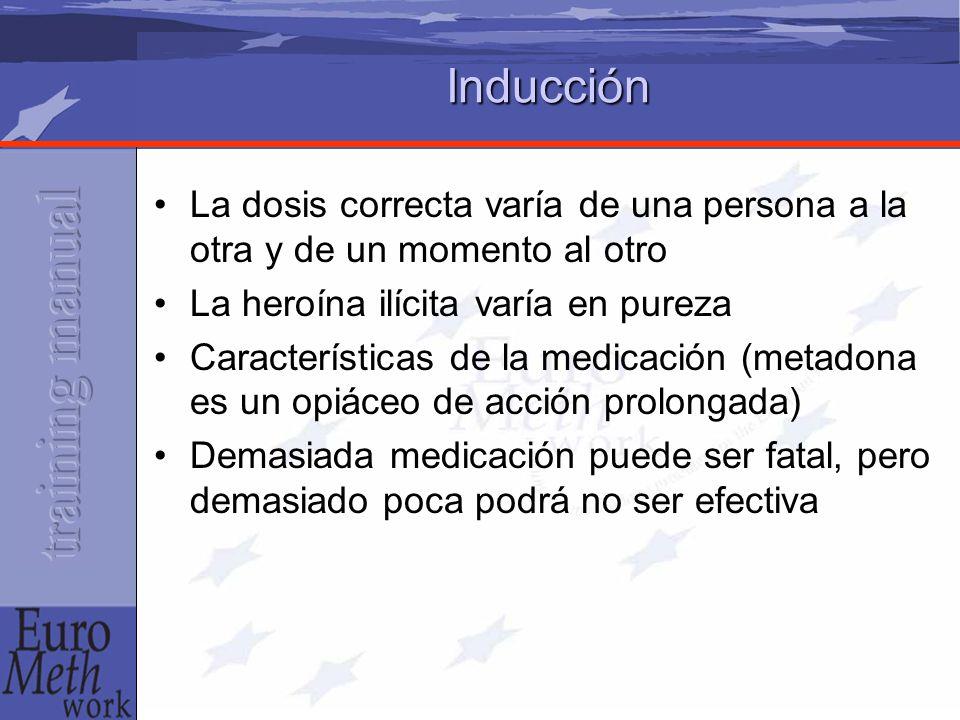Inducción La dosis correcta varía de una persona a la otra y de un momento al otro La heroína ilícita varía en pureza Características de la medicación (metadona es un opiáceo de acción prolongada) Demasiada medicación puede ser fatal, pero demasiado poca podrá no ser efectiva
