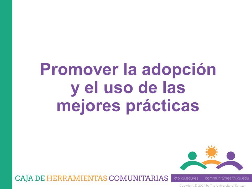 Copyright © 2014 by The University of Kansas Promover la adopción y el uso de las mejores prácticas