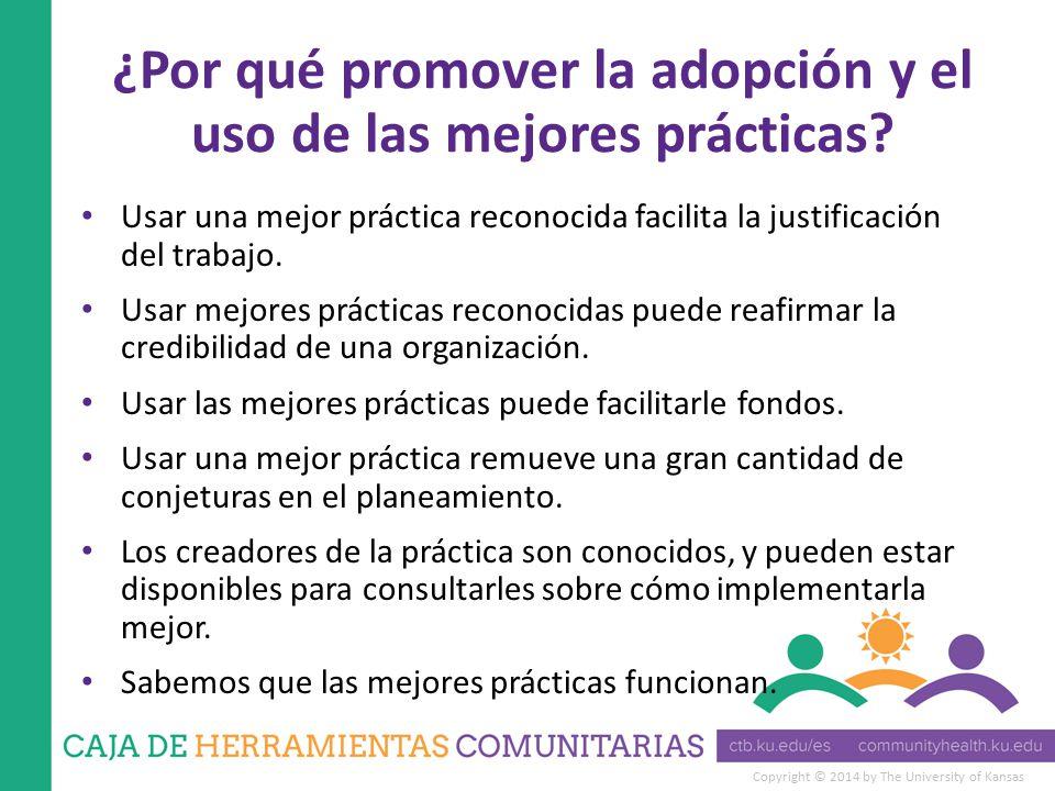 Copyright © 2014 by The University of Kansas ¿Por qué promover la adopción y el uso de las mejores prácticas.