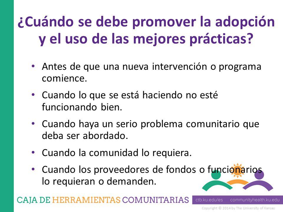 Copyright © 2014 by The University of Kansas ¿Cuándo se debe promover la adopción y el uso de las mejores prácticas.