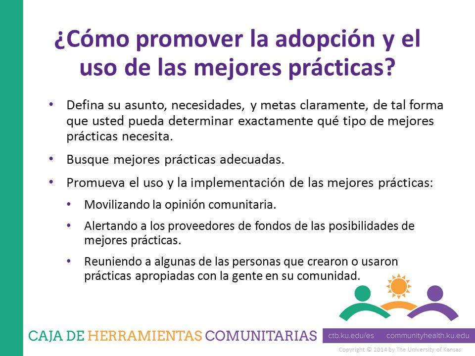 Copyright © 2014 by The University of Kansas ¿Cómo promover la adopción y el uso de las mejores prácticas.