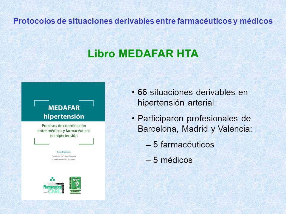Protocolos de situaciones derivables entre farmacéuticos y médicos Libro MEDAFAR HTA 66 situaciones derivables en hipertensión arterial Participaron profesionales de Barcelona, Madrid y Valencia: – 5 farmacéuticos – 5 médicos