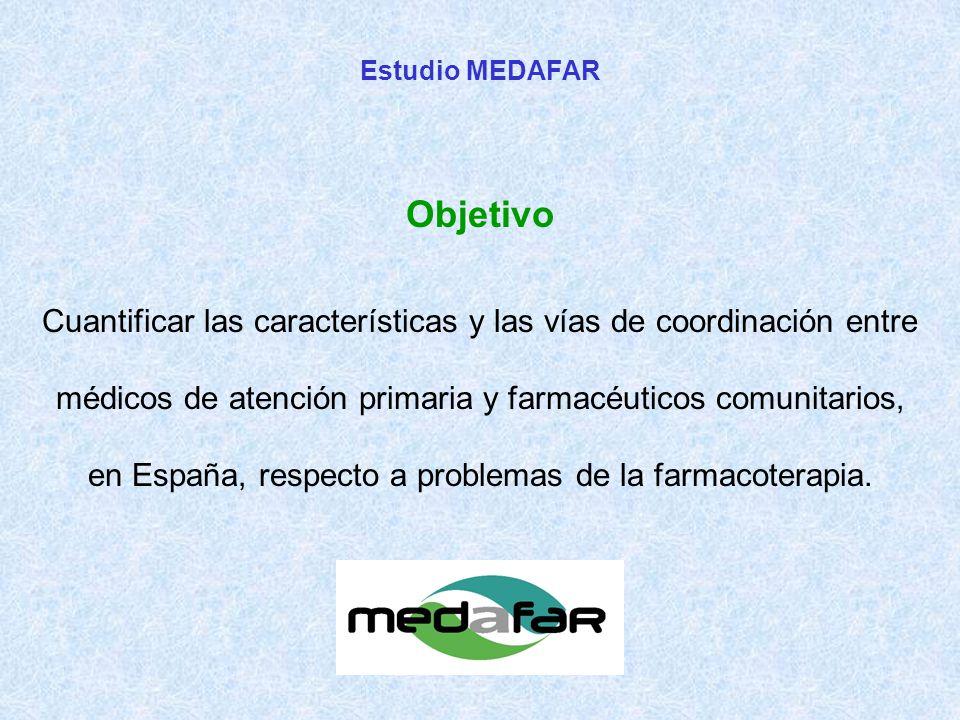 Cuantificar las características y las vías de coordinación entre médicos de atención primaria y farmacéuticos comunitarios, en España, respecto a problemas de la farmacoterapia.