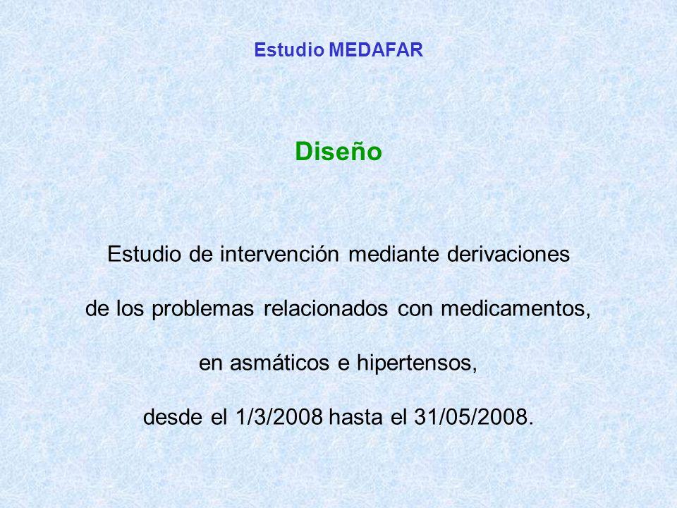 Estudio de intervención mediante derivaciones de los problemas relacionados con medicamentos, en asmáticos e hipertensos, desde el 1/3/2008 hasta el 31/05/2008.