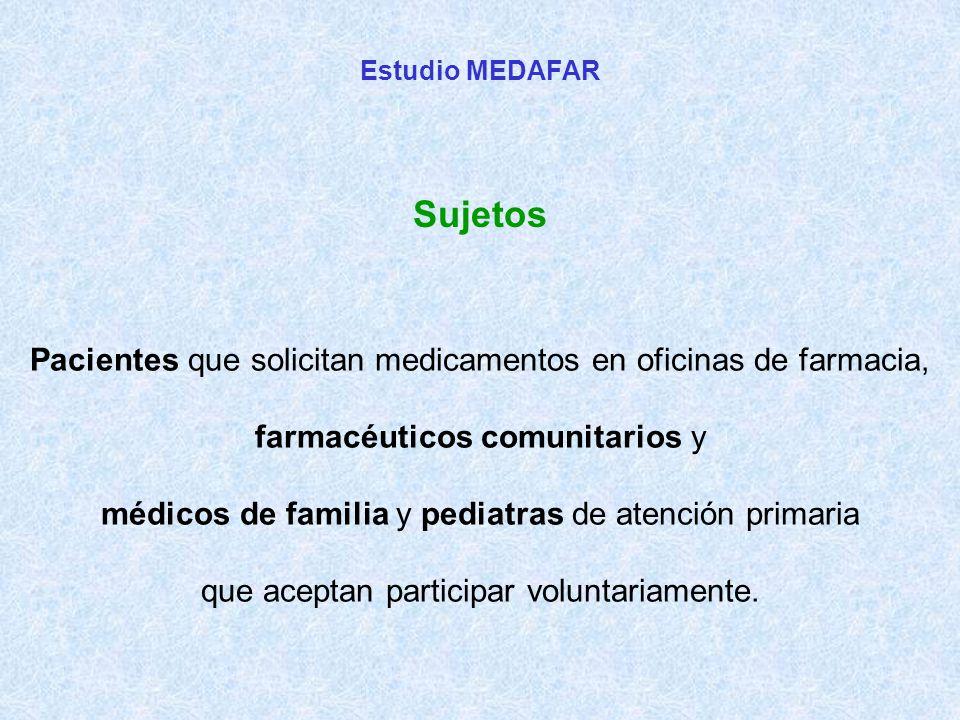 Pacientes que solicitan medicamentos en oficinas de farmacia, farmacéuticos comunitarios y médicos de familia y pediatras de atención primaria que aceptan participar voluntariamente.